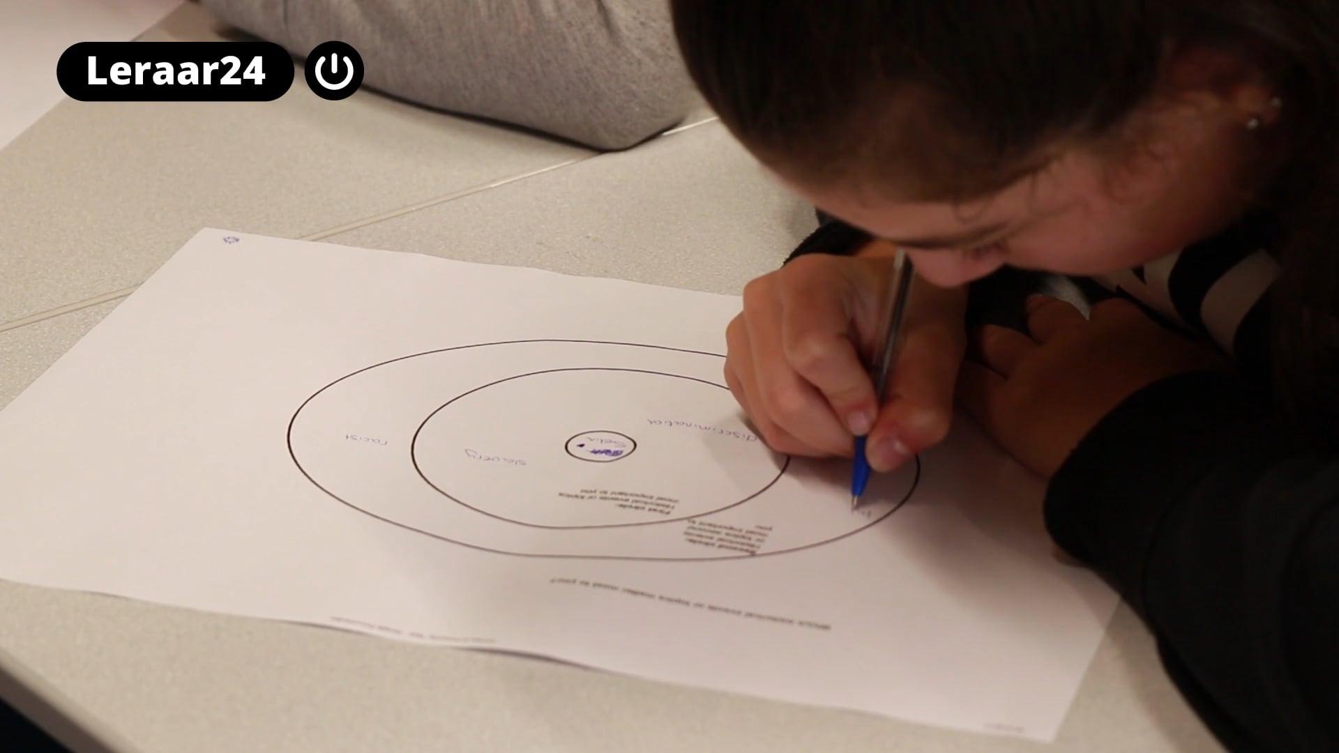 Leerlinge schrijft in de circle of proximity