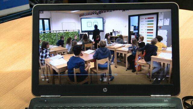 Videobeeld van een opgenomen lessituatie.