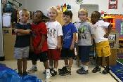 5 leerlingen op een rij