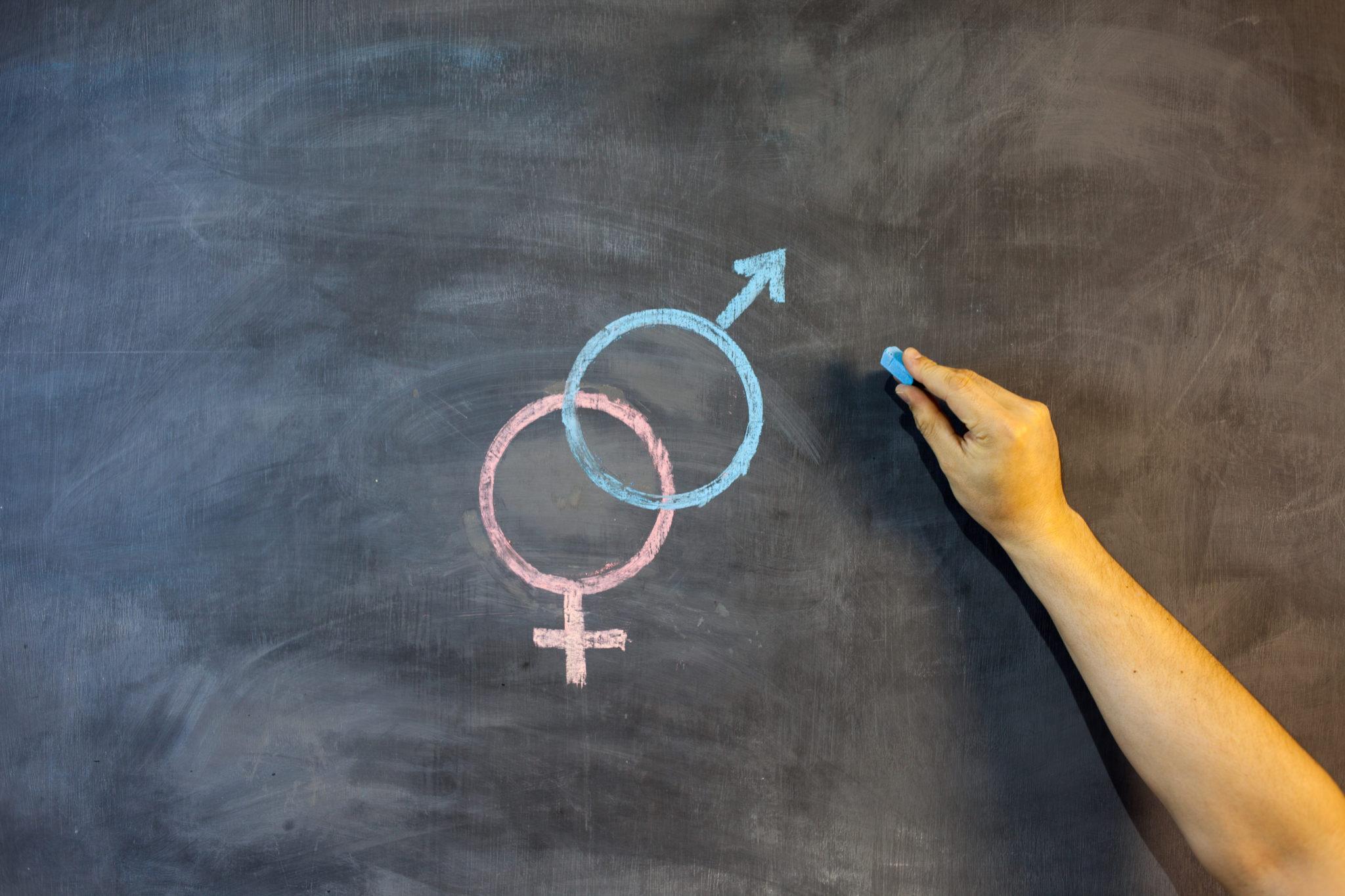 gendersymbolen op een schoolbord