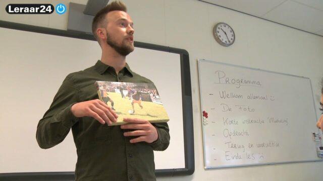 Een foto van een voetballer die de leraar gebruikt voor de start van de les.